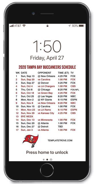tampa bay buccaneers lock screen schedule