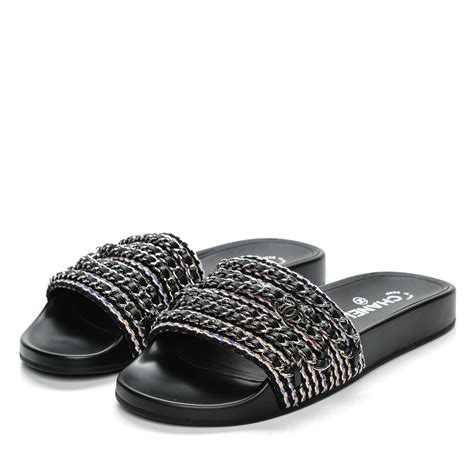 chanel sandals chanel tweed lambskin chain flat sandals 39 black
