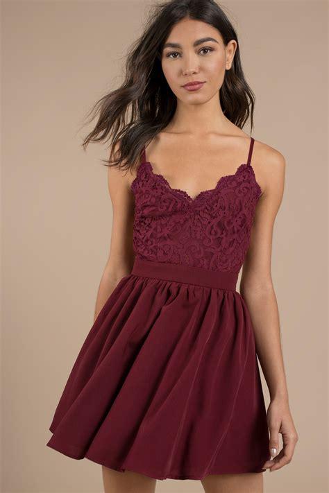 Mila Black mila burgundy lace pleated sleeveless skater dress 64
