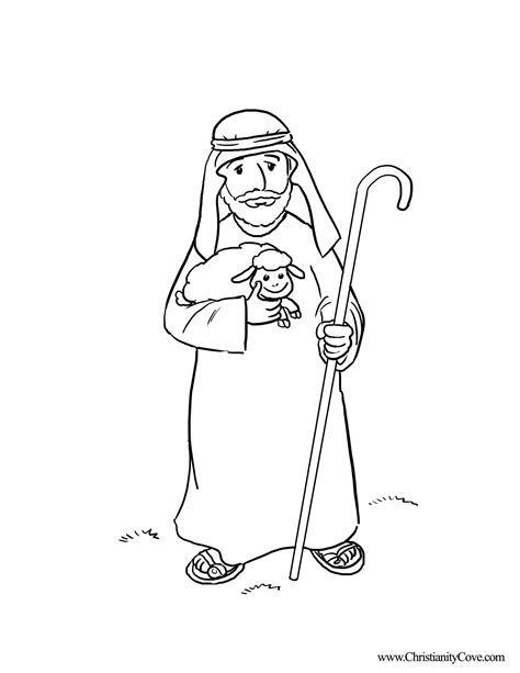 Shepherd Coloring Page For Kids Bible Printables  Pages sketch template