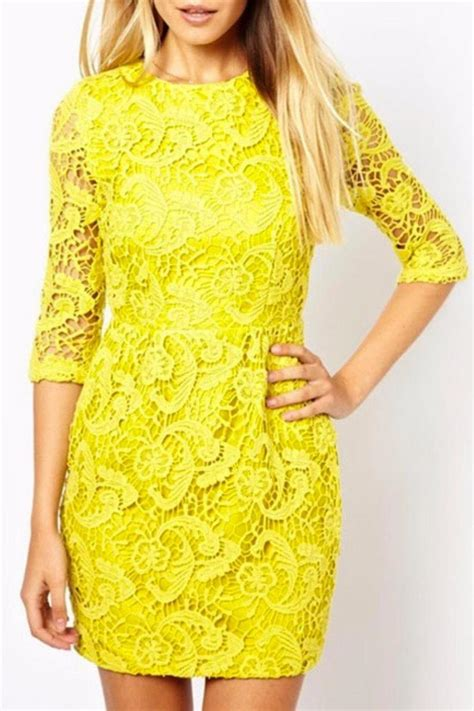 haoduoyi yellow lace dress from seattle by miss shasha shoptiques
