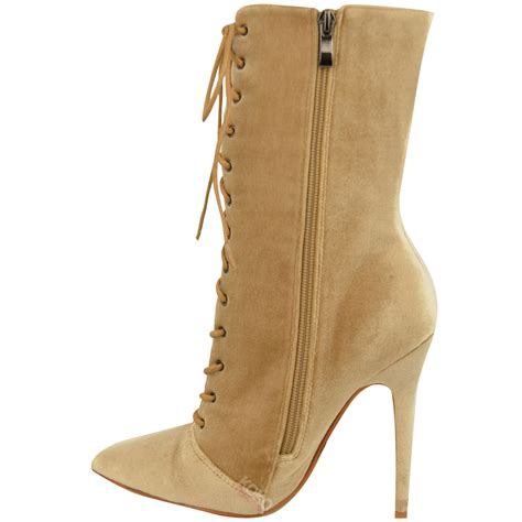laced up high heel boots womens lace up stretchy high heel stiletto ankle