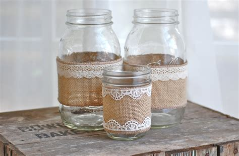 nature themes jar set of 3 burlap and lace mason jars rustic by heidiewithane