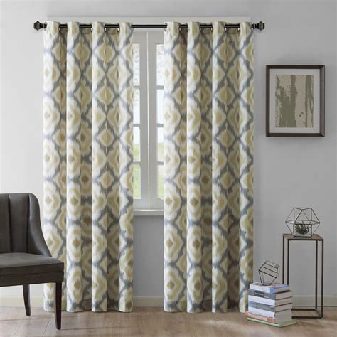 gray and yellow curtain panels quatrefoil yellow and gray living room curtain decofurnish