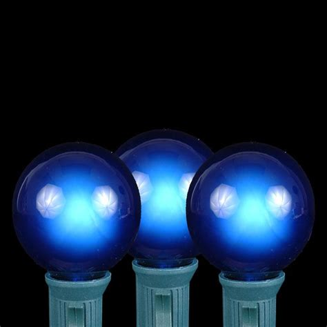 Blue G40 Globe Round Outdoor String Light Set On White Blue String Lights