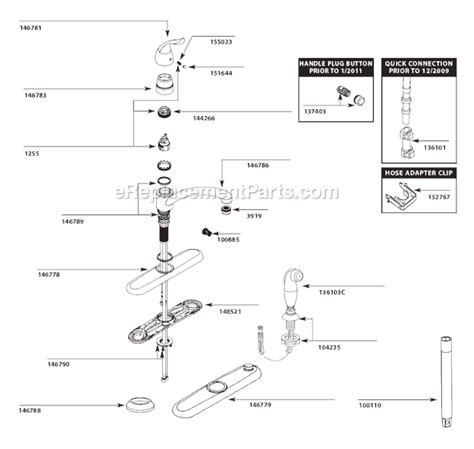 moen single handle kitchen faucet parts diagram moen 7425 parts list and diagram after 10 10 ereplacementparts