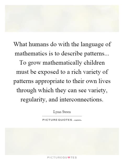 pattern and language of mathematics what humans do with the language of mathematics is to