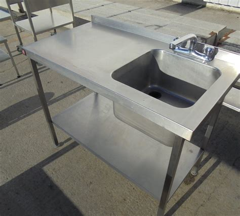 Used Stainless Steel Table With Sink used parry stainless steel single bowl sink table 110cmw x 60cmd x 89cmh h2 catering equipment