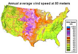wind speed map wind generating capacity is distributed unevenly across