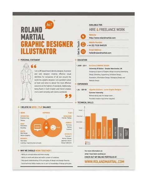 Creative Graphic Designer Sle Resume by Cv Including A Venn Diagram Resumes Cv R 233 Sum 233 Cv Design Creative