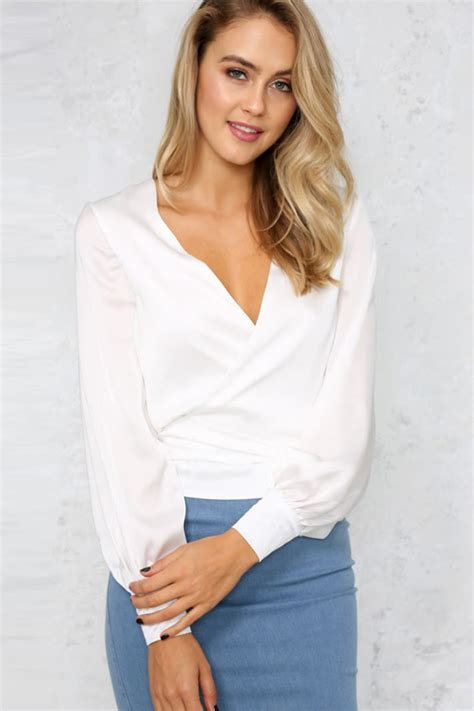 Sleeve Blouse With Plunging Neckline by White Plunge V Neck Puff Sleeve Blouse Womens Shirts