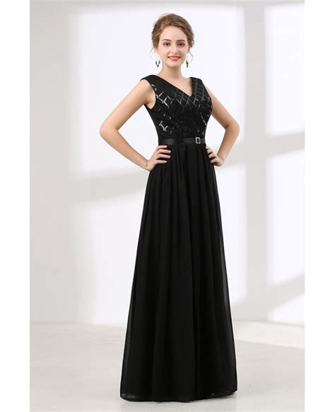 Sequined Prom Dress inexpensive sequined black prom dress v neck 2018