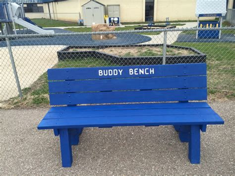 playground buddy bench new playground quot buddy bench quot centennial public school
