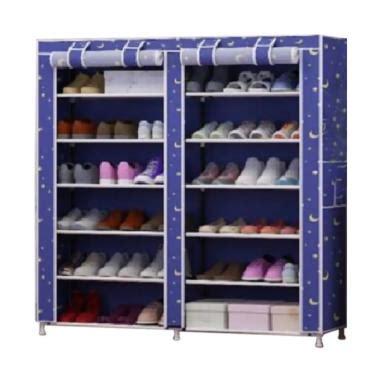 Allunique Rak Sepatu Portable Shoe Rack With Dust Cover jual home klik motif bintang shoe rack 12 layers with dust cover rak sepatu biru