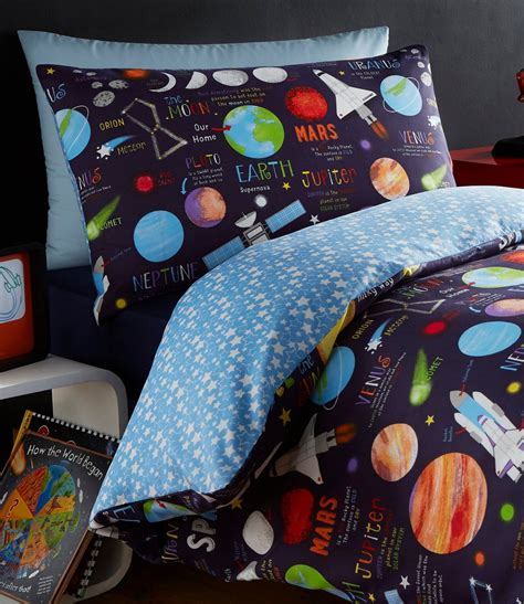 planets space ship rocket solar system reversible duvet