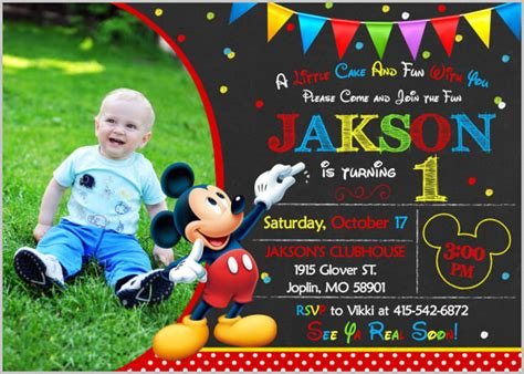 mickey mouse birthday invitation card template mickey mouse invitation templates 26 free psd vector