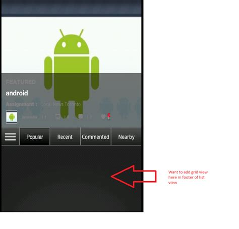android layout header footer gridview android how to add grid view in footer of list