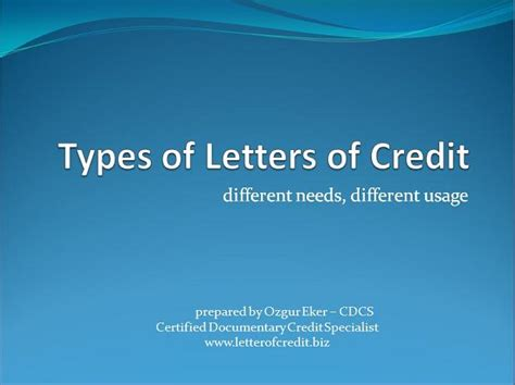 Certificate Of Documentary Letter Of Credit Specialist Types Of Letters Of Credit Presentation 1 Lc Worldwide International Letter Of Credit