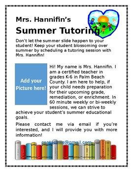 tutor flyer templates summer tutoring flyer template by the teaching troop tpt