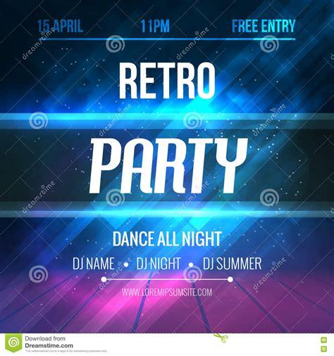 vintage dance party 70s poster design template