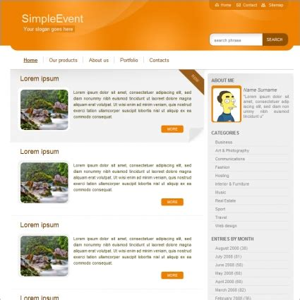 simple event template free website templates in css html
