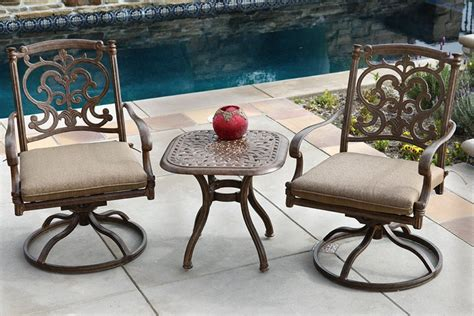 patio furniture bistro set cast aluminum 3pc santa barbara