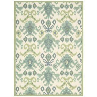 overstock ikat rug nourison vista ikat ivory rug 8 x 10 standard blue size 8 x 10 polyester abstract