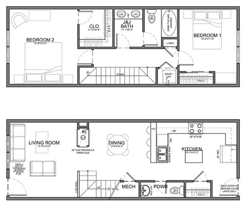 Narrow Lot 2 Story House Plans by Very Narrow Unit Plans For Apartments Townhomes And