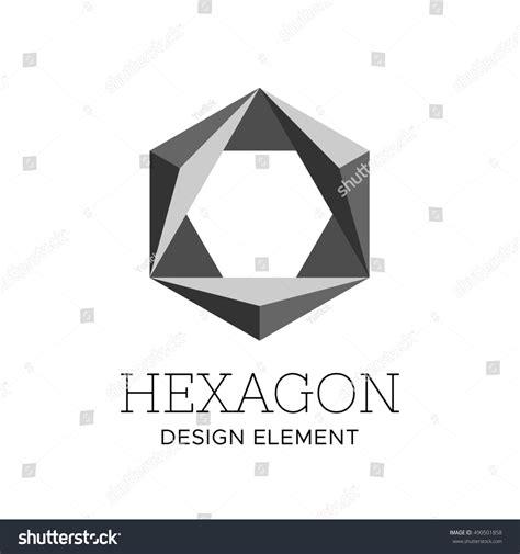 design concept hexagon flat style gray color polygonal hexagon stock illustration