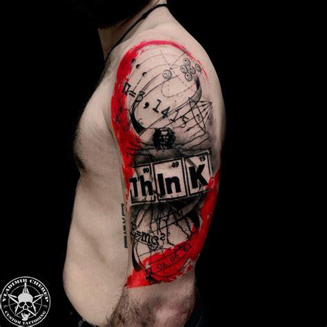 тату научной тематики в стиле треш полька фото татуировок