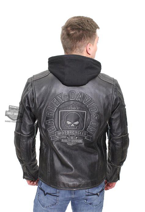 Harley Davidson 6639 3time Black Leather 1 harley davidson 174 mens willie g skull badge 3 in 1 black leather jacket