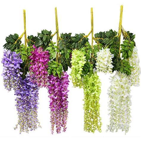 luyue 12pcs artificial wisteria vine ratta hanging silk flowers wedding home decor 3