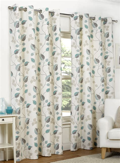 Teal Patterned Curtains Ready Made Curtains Fully Lined Eyelet Ring Top All Sizes Teal Leaf Pattern Ebay