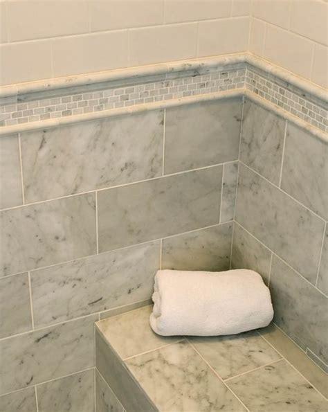 Carrara Marble Subway Tile Bathroom by 25 Best Ideas About Shower Tile Designs On Pinterest