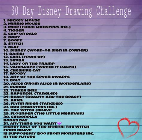 drawing challenge 30 day disney drawing challenge drawings