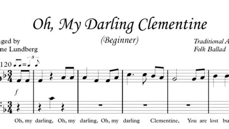 tutorial piano oh darling oh my darling clementine piano sheet music youtube