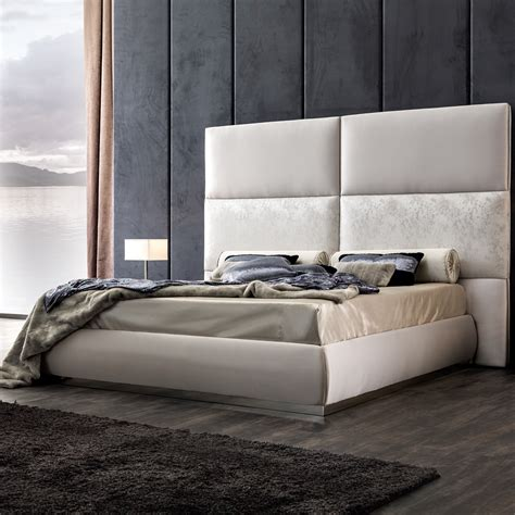 Panel Upholstered Bed With Tall Headboard