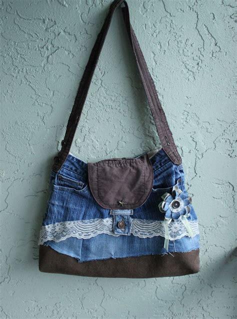 Jean Handbags Handmade - blue and brown handmade shabby upcycle large