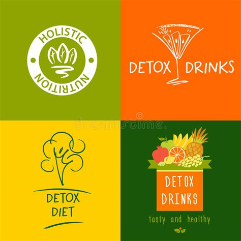 Balance Diet Detox by Set Of Vector Logo Detox Drink Diet And Holistic