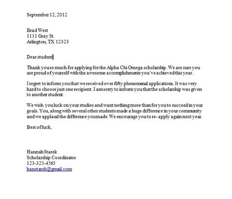 Rejection Letter For Scholarship Scholarship Letter Starek S Portfolio