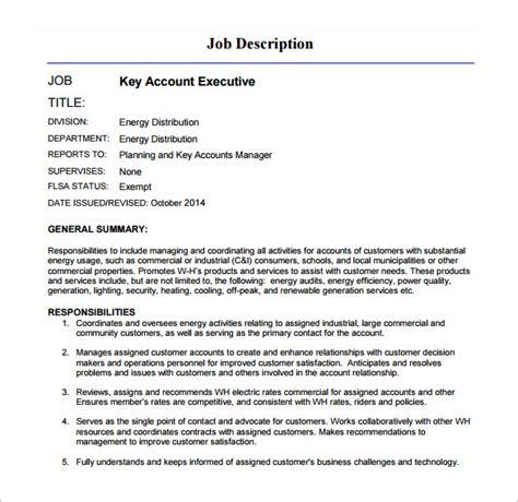 11 account executive description templates free sle exle format free