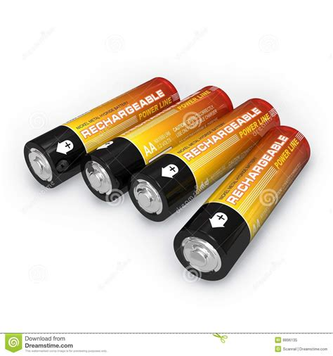four aa batteries four aa rechargeable batteries royalty free stock photo