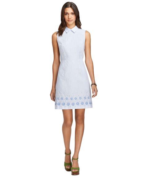 Imported Stripeca Dress brothers sleeveless stripe dress in blue light blue lyst