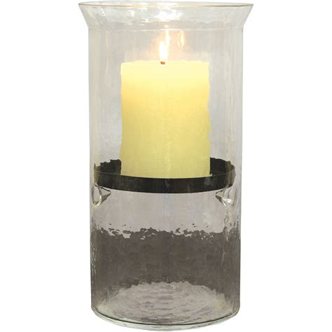 Hurricane Pillar Candle Holders Pack Of 3 Yellow Flower Glass Hurricane Pillar