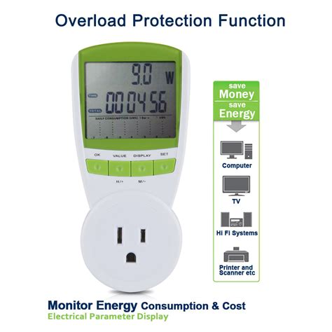lcd power meter energy monitor plug in kwh watt volt amp