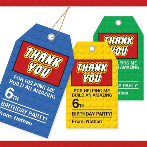 printable name tags for party bags lego thank you tags lego favor tags 3 colors with