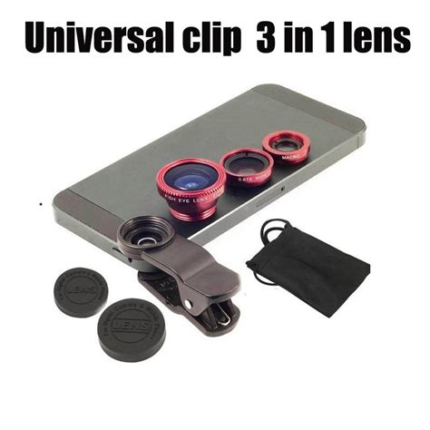 Universal Clip Lens 3 In 1 Macro Wide Fish Eye Lensa Jepit 3 In 1 universal clip 3 in 1 lens macro lens wide angle lens