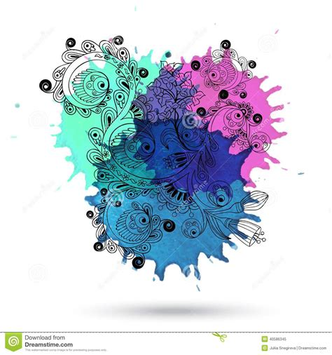 doodle paint vector watercolor abstract design with doodle stock vector