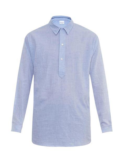 Sleeve Half Placket Shirt raey line half placket cotton shirt in blue for