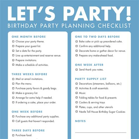 list theme for event diy printable birthday party checklist